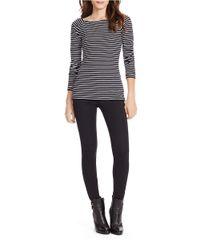 Lauren by Ralph Lauren - Black Petite Striped Ballet-neck Shirt - Lyst