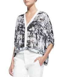 Helmut Lang - White Printed Lightweight Cropped Blouse & Straight-Leg Cotton-Blend Pants - Lyst