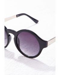 Forever 21 Black Metal Temple Round Sunglasses