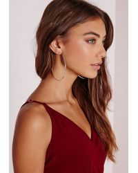 Missguided - Metallic Classic Silver Hoops - Lyst