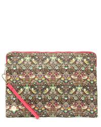 Mi-Pac Pink Strawberry Thief Printed Large Clutch Bag