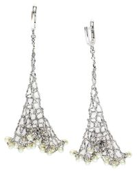 Lord & Taylor | Metallic Freshwater Pearl And Sterling Silver Mesh Lace Earrings | Lyst