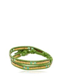 Colana | Green Leather Wrap Bracelet With Jade | Lyst