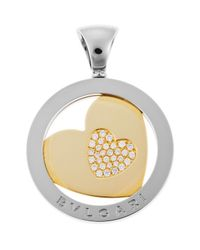 BVLGARI - Metallic Women's Tondo Diamond Heart Stainless Steel And 18k Gold Pendant - Lyst