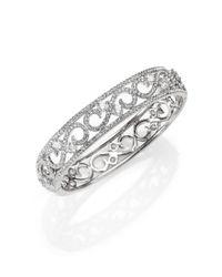 Adriana Orsini - Metallic Pavé Crystal Filigree Bangle Bracelet/Silvertone - Lyst