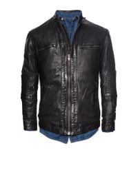 Mango Black Quilted Panel Leather Jacket for men