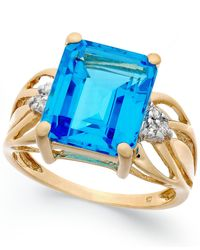 Macy's | Blue Topaz (8-1/5 Ct. T.w.) And Diamond Accent Ring In 14k Gold | Lyst