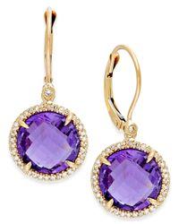 Macy's | Metallic Amethyst (8-3/4 Ct. T.W.) And Diamond (1/5 Ct. T.W.) Drop Earrings In 14K Gold | Lyst