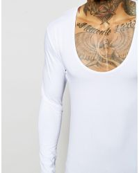 ASOS Extreme Fitted Fit Long Sleeve T-shirt With Deep Scoop In White for men