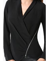 Bebe Black Silk Zip Wrap Top