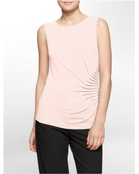 Calvin Klein - Pink White Label Side Ruched Sleeveless Top - Lyst