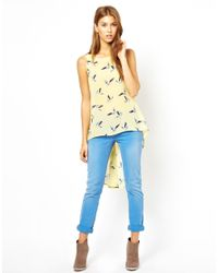 Jarlo | Yellow Shelly Bird Print Top | Lyst