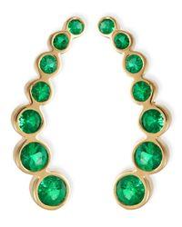 Rina Limor Metallic 18k Yellow Gold & Emerald Climber Earrings