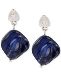 Kenneth Cole   Blue Silver-tone Organic Shell Bead Drop Earrings   Lyst