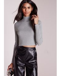 Missguided - Gray Long Sleeve Turtle Neck Knitted Crop Jumper Grey - Lyst