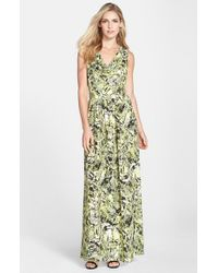 Marc New York - Green By Andrew Marc Print Crepe De Chine Maxi Dress - Lyst
