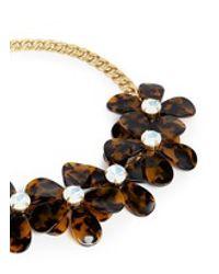 J.Crew - Brown Tortoise Flower Necklace - Lyst