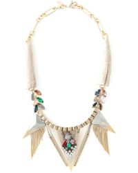 Iosselliani | Metallic 'geometric Floral' Statement Necklace | Lyst