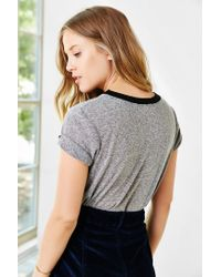 Truly Madly Deeply - Gray Initial Pocket Ringer Tee - Lyst
