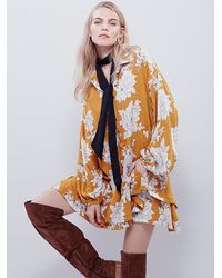 Free People | Yellow Shake It Printed Long Sleeve Mini Dress | Lyst