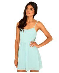 Missguided | Blue Francina Crochet Detail Swing Dress In Mint | Lyst