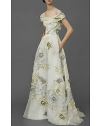 Marchesa White Off The Shoulder Soft Draped A-line Gown