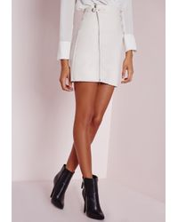 Missguided | Faux Leather Buckle Zip A Line Skirt White | Lyst