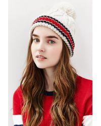 Urban Outfitters - Natural Collegiate Stripe Cuff Pom Beanie - Lyst
