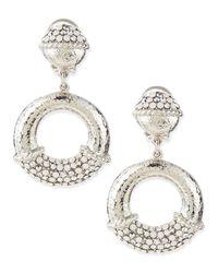 Jose & Maria Barrera Metallic Silverdotted Hoop Earrings