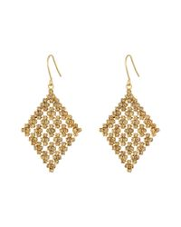 Lauren by Ralph Lauren | Metallic Pebble Beach Diamond Shape Pave Mesh Drop Earrings | Lyst