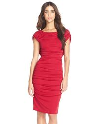 BCBGMAXAZRIA | Red 'kylia' Ruched Jersey Sheath Dress | Lyst