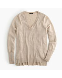 J.Crew | Natural Merino Wool V-neck Tunic Sweater | Lyst