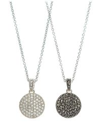 Judith Jack | Metallic Marcasite And Crystal Circle Reversible Pendant | Lyst