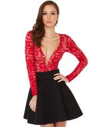 Akira Black Label Be Mine Lace Bodysuit In Red