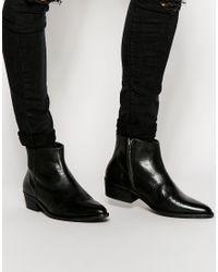 SELECTED | Black Elected Homme Bob Cuban Heel Zip Boots for Men | Lyst