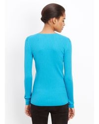 Vince - Blue Skinny Rib V-neck Long Sleeve Sweater - Lyst