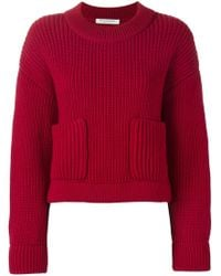 Philosophy Di Lorenzo Serafini - Red Patch Pockets Crew Neck Sweater - Lyst