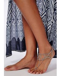 Missguided | Metallic Multi Layer Foot Chain Silver | Lyst