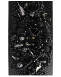 Amen - Black Leather Bracelet With Applied Stones - Lyst