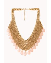 Forever 21 - Pink Goddess Teardrop Chain Bib Necklace - Lyst