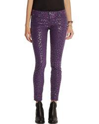 Karl Lagerfeld Purple Courtney Animal-Print Skinny Jeans