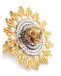 Alexander McQueen - Metallic Skull And Flower Ring - Lyst