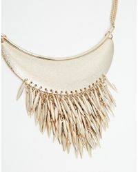 Oasis - Metallic Torq And Leaf Collar Necklace - Lyst
