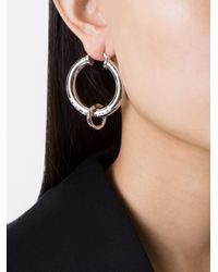 MM6 by Maison Martin Margiela - Metallic Hoop Earrings - Lyst