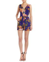 Wal-G Blue V Neck Floral Playsuit