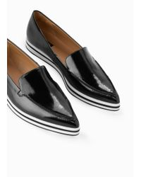 Mango Black Pointed Leather Loafer