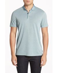 Ted Baker | Green 'missow' Slim Fit Woven Collar Polo for Men | Lyst