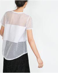 Zara   White Devoré T-shirt   Lyst