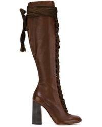 Chloé Brown Lace-Up Knee-High Boots