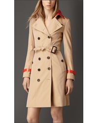 Burberry - Natural Patent Leather Detail Gabardine Trench Coat - Lyst